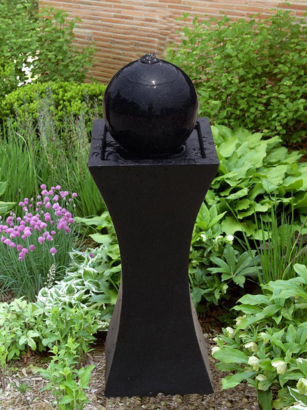 Orba Solar Powered Black Column And Ball Water Feature   0610373927301