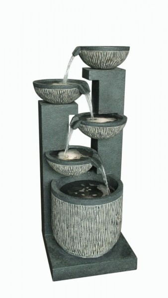 Five Bowl Textured Granite Water Feature