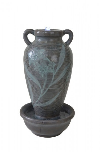 Floral Ribbed Vase Water Feature