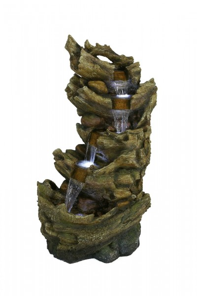 Stacked Driftwood Falls Water Feature