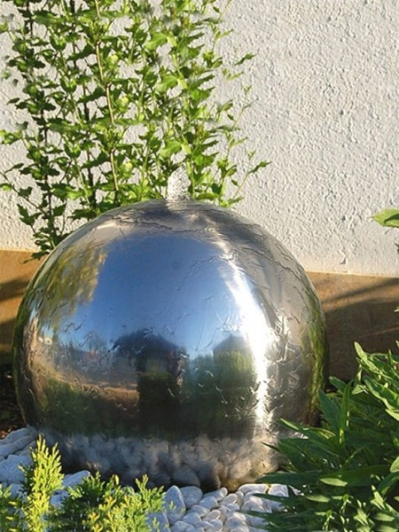 28cm Aterno Polished Steel Sphere Water Feature