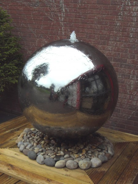 Aterno10 - 100cm Diameter Polished Steel Sphere With Pebble Pool & LED's