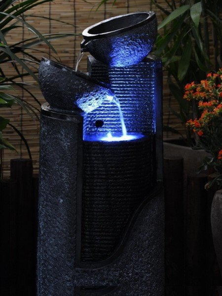 Solar Stone Pillar and Bowls Water Feature