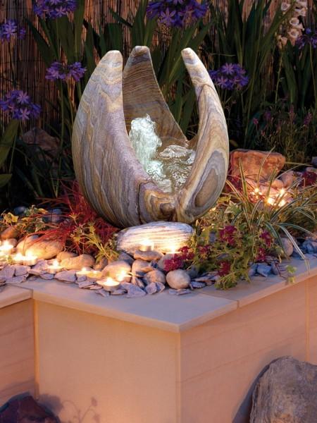 95cm Babbling Lily Rainbow Sandstone Garden Water Feature