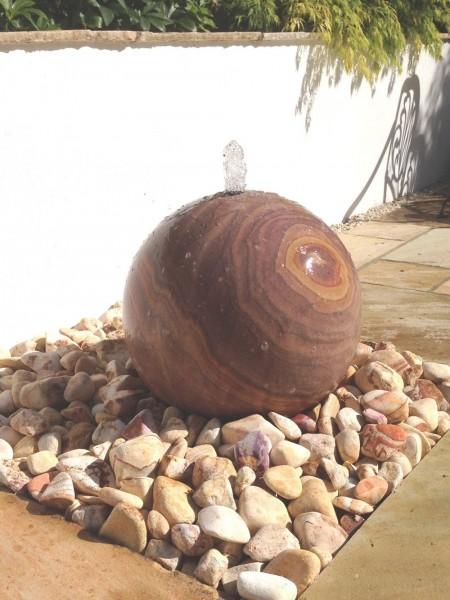 Rainbow Sandstone Sphere 40cm Diameter Kit , Pebble Pool & Pebbles