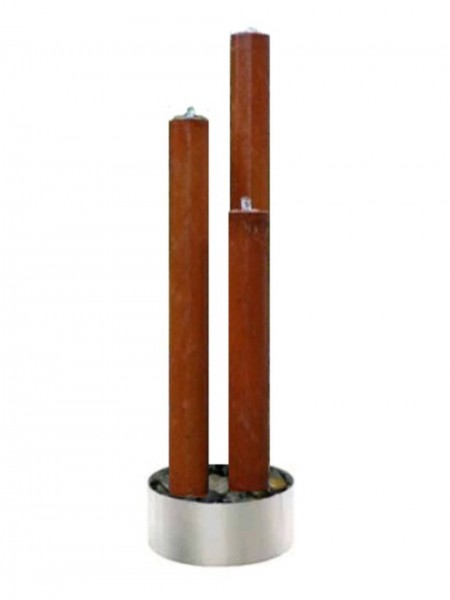 Tresa3 Corten Steel Triple Tubes with Stainless Steel Base and LED Lights