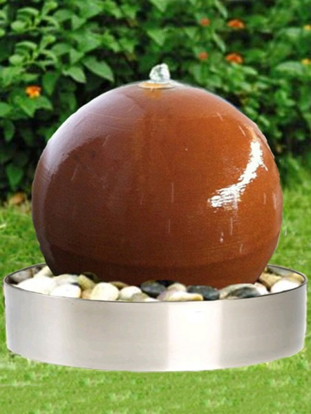 Aterno4 40cm Corten Steel Sphere Water Feature With Steel Base and LED Lights