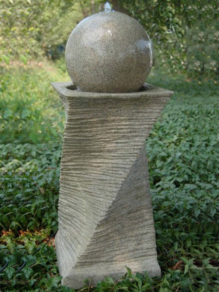 Aqua Moda Sandstone Ball on Chiselled Column Garden Water Feature with LED Light