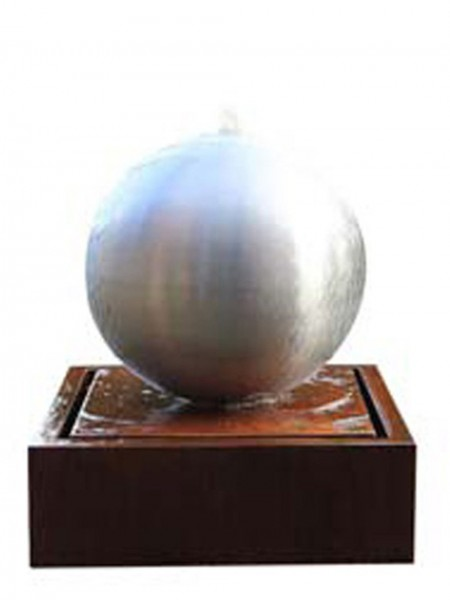 Aterno3 40cm Steel Sphere on Corten Steel Base With LED Lights