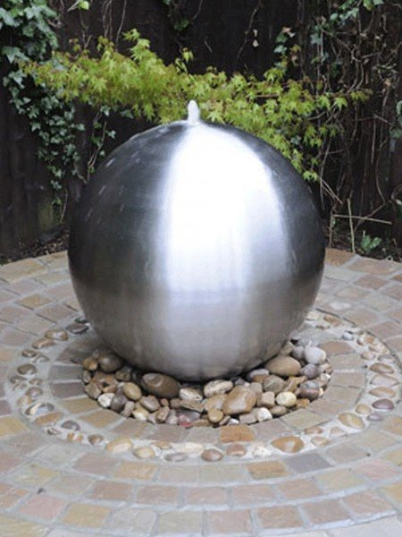 Aterno3 28cm Brushed Stainless Steel Sphere Water Feature