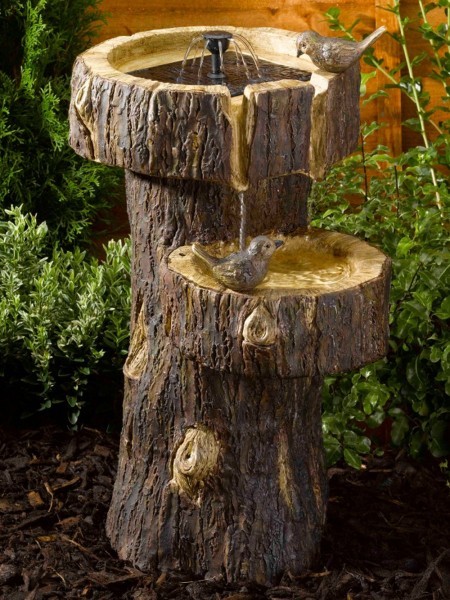 Treetrunk Birdbath Garden Water Feature
