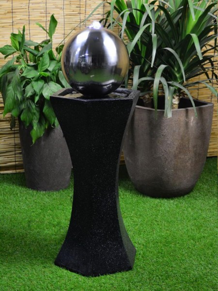 Black Pedestal With Steel Sphere Water Feature