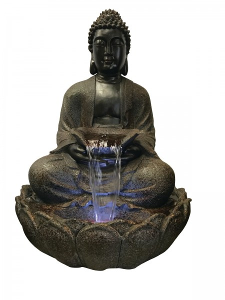 Brown Sitting Buddha Water Feature