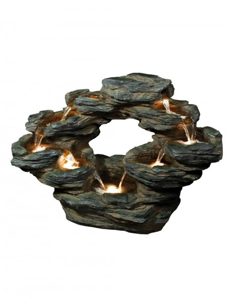 Nine Fall Oval Slate Water Feature