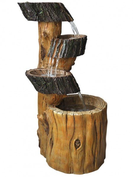 Three Fall Tree Trunk Water Feature