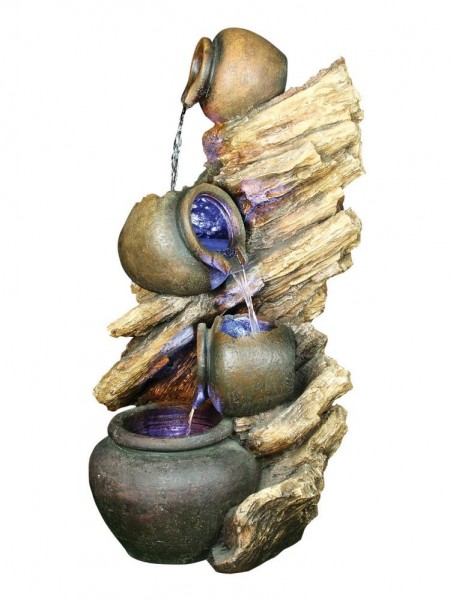 Four Pots on Driftwood Water Feature