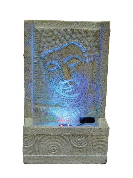 Sandstone Buddha Face with Swirl Water Feature