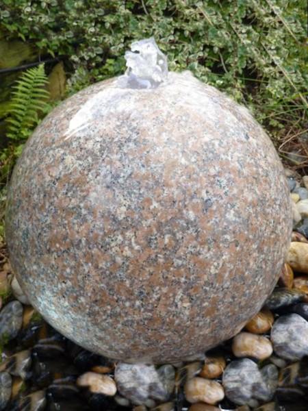 60cm Pink Granite Sphere Water Feature