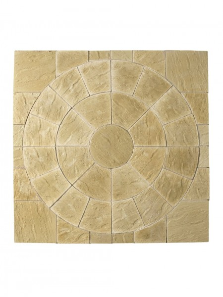 Abbey Patio Circle Kit 2.4m & Squaring Off Kit in York Gold
