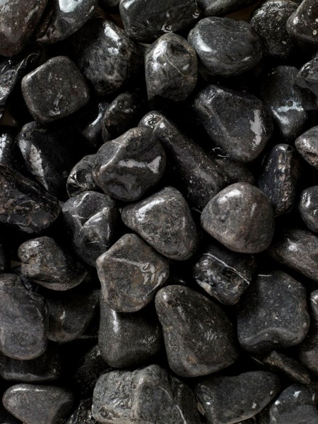 Four x 10 kg Polished Black River Cobbles 5-8cm