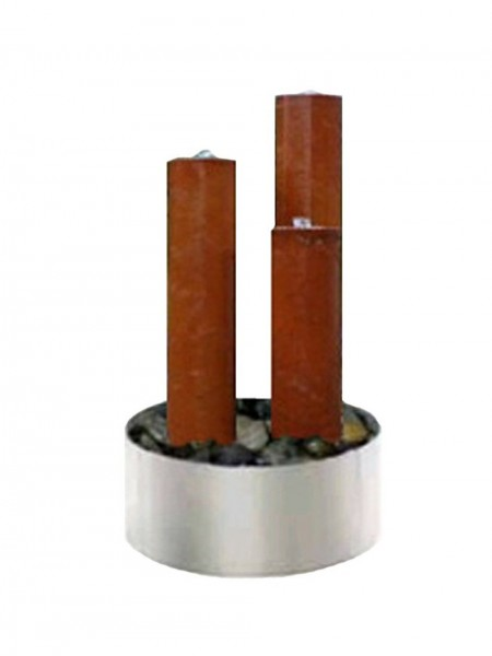 Tresa1 Corten Steel Triple Tubes With Stainless Steel Base And LED Lights