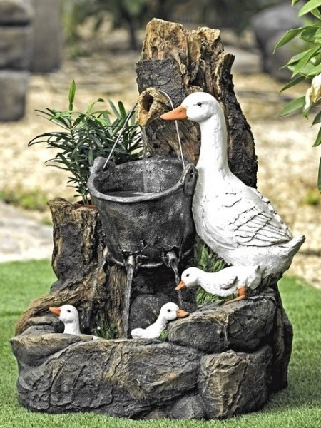 Solar Duck Family Water Feature by Aqua Moda