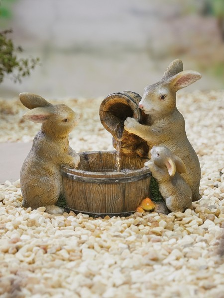Playful Bunnies Water Feature