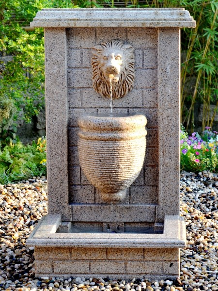 Hand Carved Granite Lion Water Feature