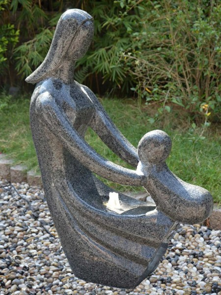 Granite Mother Embracing Child Water Feature