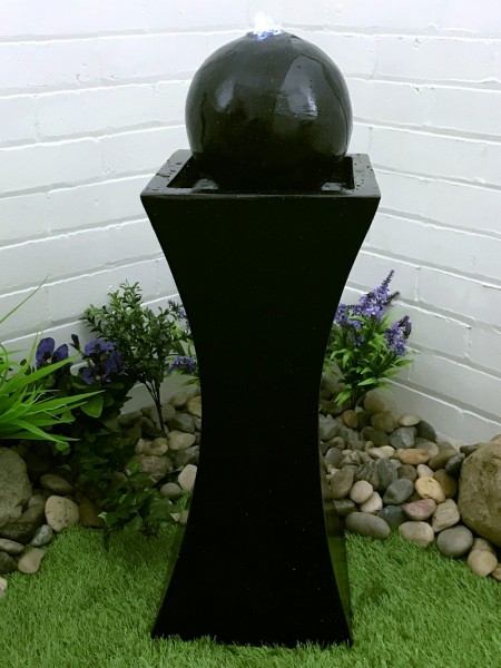 Orba Solar Black Column and Ball Water Feature