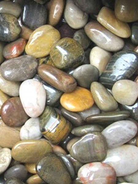 One x 20kg Multi Coloured Polished River Pebbles 20mm - 40mm