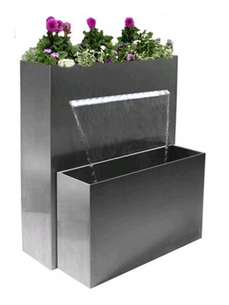 Aqua Moda Stainless Steel Water Cascade With LED Lights Planter And Steel Base Water Feature