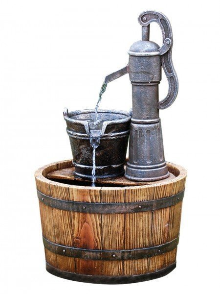 Pump on Wooden Barrel