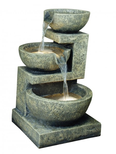 Small Granite Three Bowl Water Feature