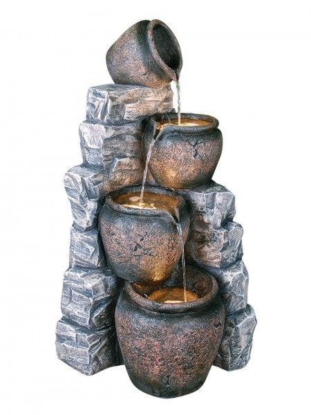 Four Pots on Blue Slate Water Feature