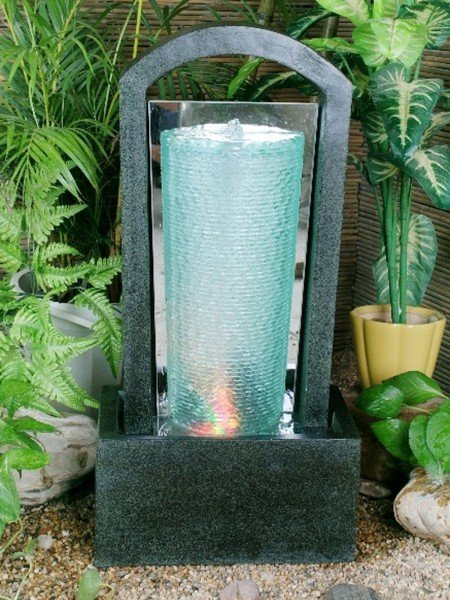 Glass Column in Granite Water Feature