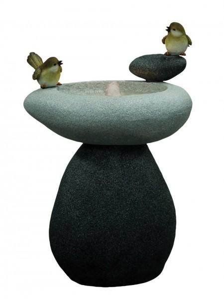 Solar Birds on Stone Water Feature