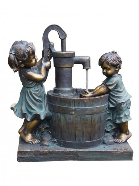 Boy & Girl at Barrel Water Feature