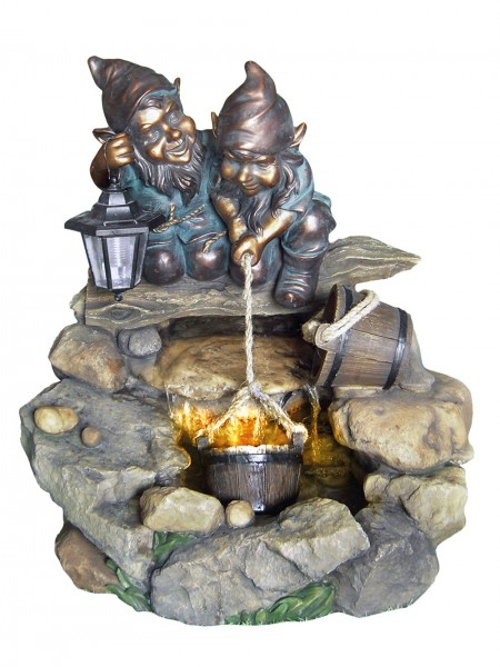 Two Gnomes at Rock Pool Water Feature