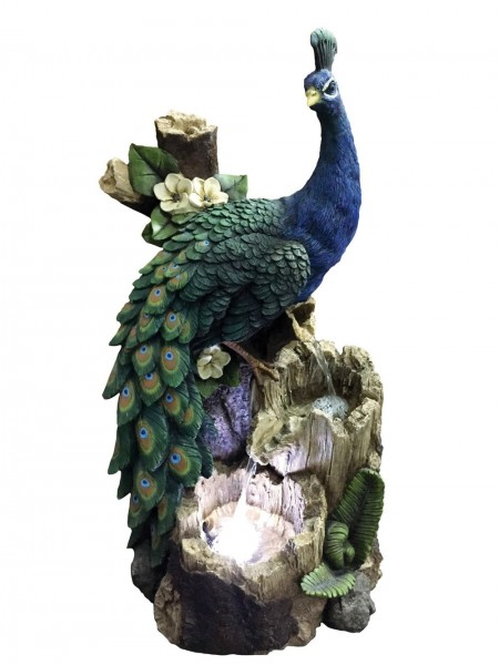 Peacock on Tree Trunk Water Feature