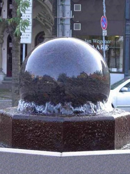 Rotating Granite Ball Water Feature on Modern Base