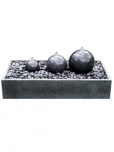 Three Granite Spheres in Granite Base Water Feature