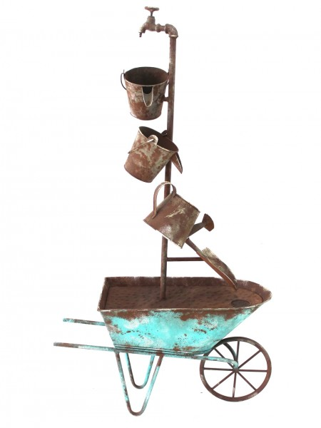 Metal Wheelbarrow Fountain