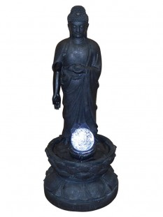 Standing Buddha Crystal Ball Water Feature