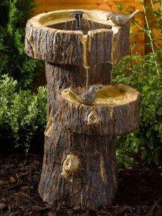 Treetrunk Birdbath Garden Water Feature