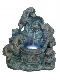 Four Bronzed Puppies Water Feature