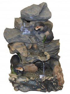 Otters Building Dam Water Feature