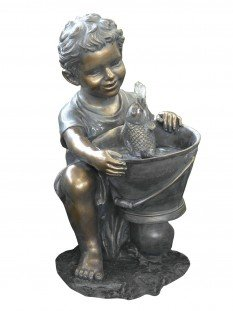 Boy with Fish and Bucket Water Feature