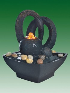 Black Sphere with Arches Water Feature