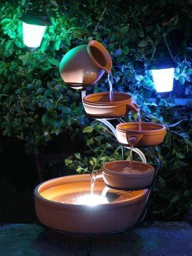 Solar Terracotta Cascade Water Feature